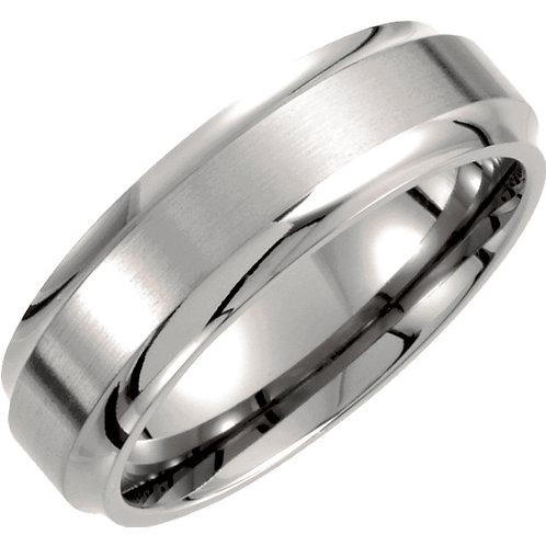 Titanium 7mm Ridged Band