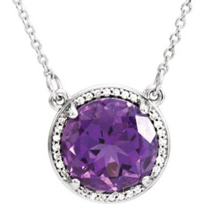 "14K White Amethyst & .05 CTW Diamond 16"" Necklace"