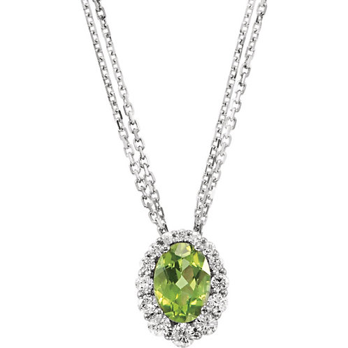 "Genuine Peridot & Diamond 18"" Necklace"