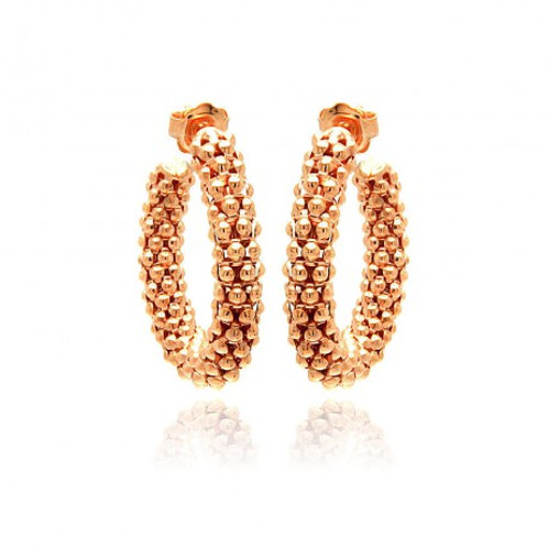 Sterling Silver Rose Gold Plated Italian Hoop Earring