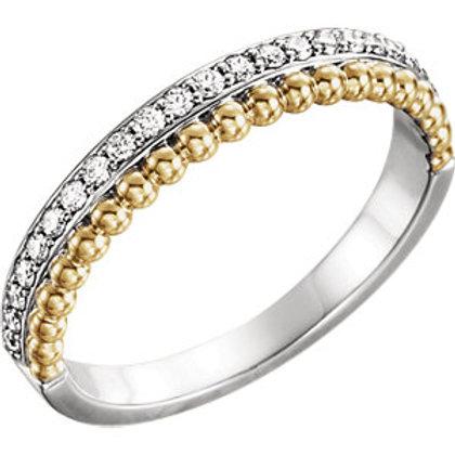 14K White & Yellow 1/4 CTW Diamond Beaded Ring