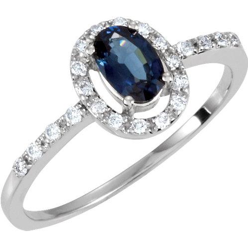 14K White 1/6 CTW Diamond & 6x4mm Blue Sapphire Ring