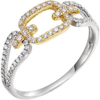 14K White & Yellow 1/3 CTW Diamond Link Ring