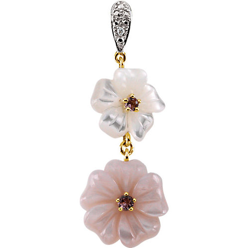 14K Yellow Gold Pink Tourmaline, Mother of Pearl, & Diamond Floral Pendant