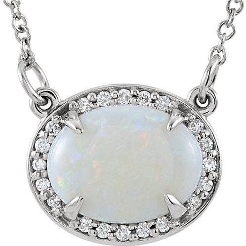 "14K White Opal & .05 CTW Diamond Halo-Style 16.5"" Necklace"