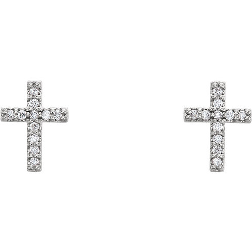 14K White .06 CTW Diamond Cross Earrings