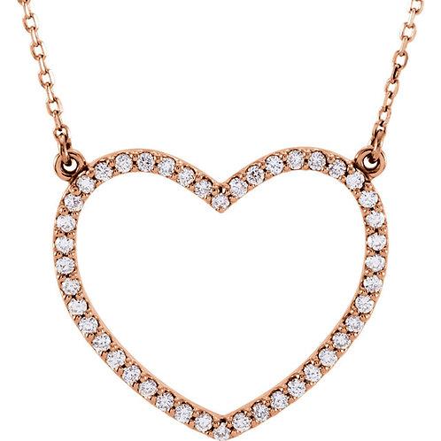 "14K Rose Gold 1/3 CTW Diamond Heart 16"" Necklace"