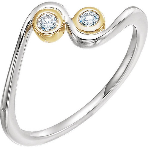 14K White & Yellow 1/10 CTW Diamond Two-Stone Ring
