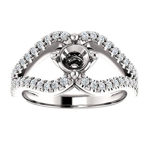 14K White Gold 5.2mm Round 3/8 CTW Diamond Semi-set Engagement Ring
