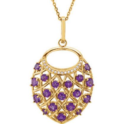 "14K Yellow Amethyst & .06 CTW Diamond Nest Design 18"" Necklace"