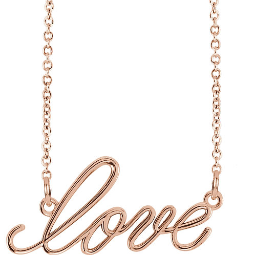 "14K Rose Gold ""Love"" 16.5"" Necklace"