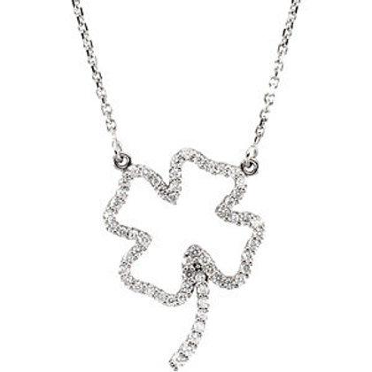 14K White Gold 1/3 CTW Diamond Clover Necklace