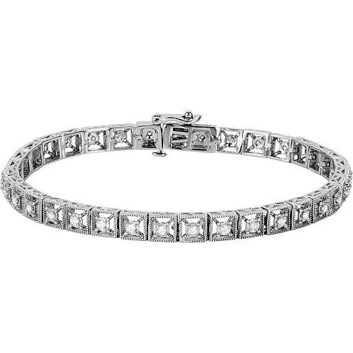 """14K White 1/2 CTW Diamond Fashion Tennis 7"""" Bracelet"""