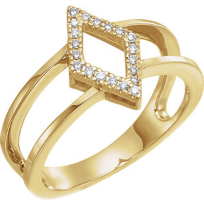 14K Yellow .10 CTW Geometric Diamond Ring