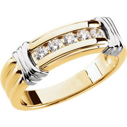 14K Yellow & White 1/2 CTW Diamond Ring