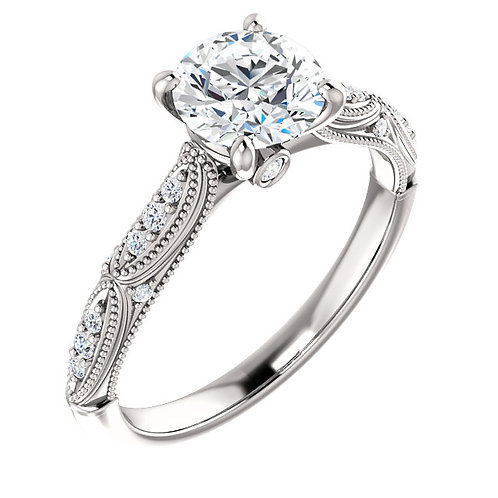 Charles & Colvard Moissanite® & Diamond Accented Engagement Ring