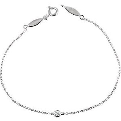 14K White .08 CT Diamond Bracelet