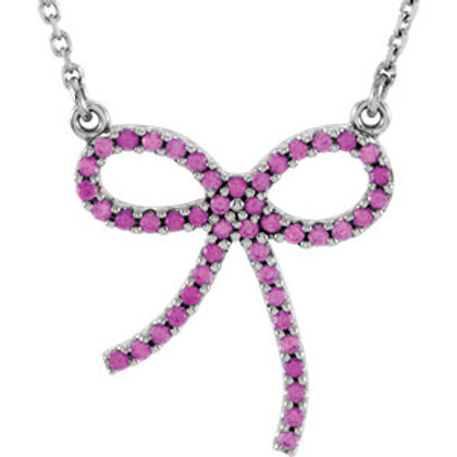 Genuine Pink Sapphire Bow Necklace