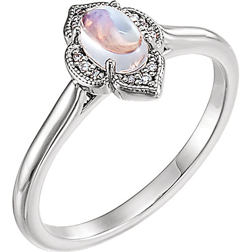 14K White Gold Rainbow Moonstone & .03 CTW Diamond Clover Cabochon Ring
