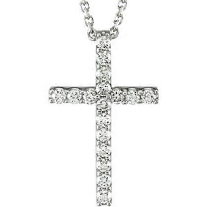 """14K White 1/3 CTW Petite Diamond Cross 18"""" Necklace"""
