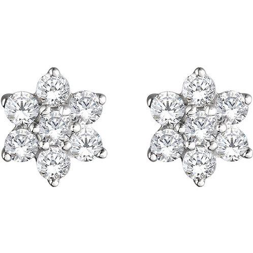 14K White Gold 3/8 CTW Diamond Flower Earrings