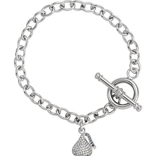 """14K White HERSHEY'S KISSES 3D 5/8 CTW Diamond 7.5"""" Charm Bracelet"""