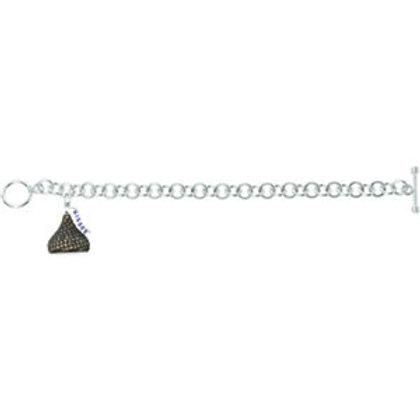 """14K White HERSHEY'S KISSES 3D 2 7/8 CTW Brown Diamond 7.5"""" Charm Bracelet"""