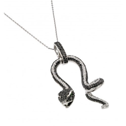 Sterling Silver Black Rhodium Plated Snake with Green CZ Stone Eyes Pendant Neck