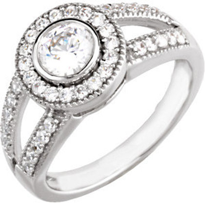 14K White 1/2 CTW Diamond Semi-set Engagement Ring for 4.1mm Round Center