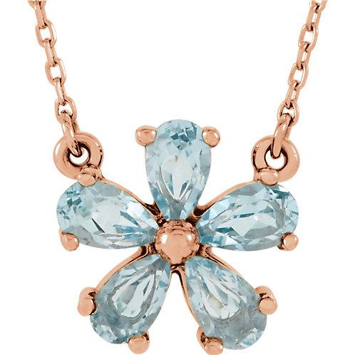 14K Rose Gold Gemstone 16' Necklace