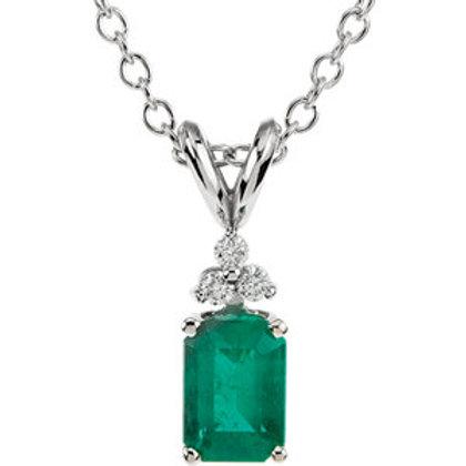 "14K White Emerald & .06 CTW Diamond 18"" Necklace"
