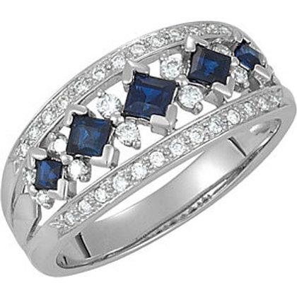 14K White 1/4 CTW Blue Sapphire & Diamond Anniversary Band