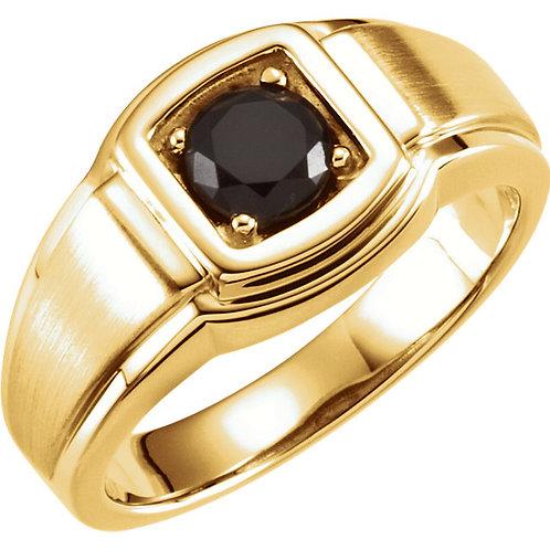 14K Yellow Onyx Men's Ring
