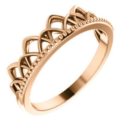 14K Rose Gold Stackable Crown Ring