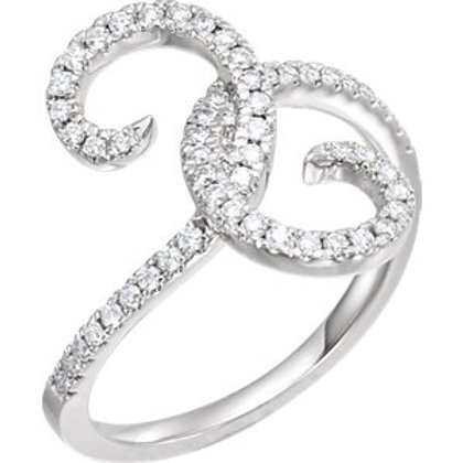 14K White 1/3 CTW Diamond Swirl Ring