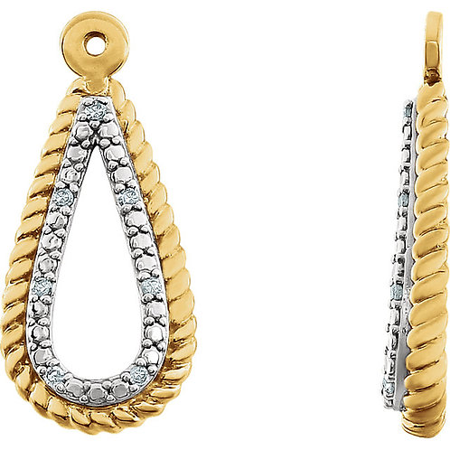 14K White 14K Yellow Gold Plated .04 CTW Diamond Earring Jackets