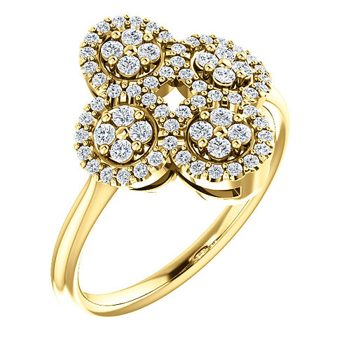 14K Yellow 1/2 CTW Diamond Cluster Clover Ring