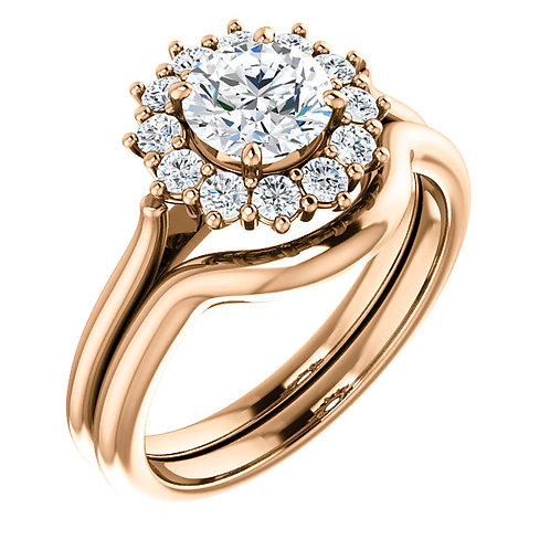 14K Rose Gold 6mm Round Halo-style Ring Mounting