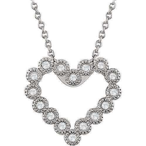 "14K White 1/8 CTW Diamond Heart 18"" Necklace"