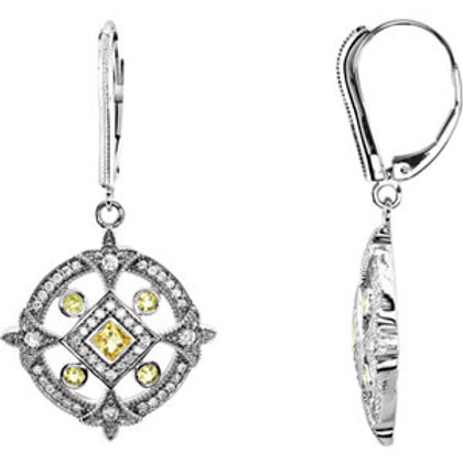 14K White Canary Yellow Sapphire & 1/2 CTW Diamond Earrings