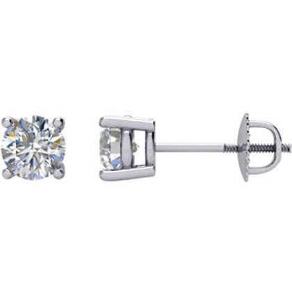 14K White Gold 1/2 CTW Diamond Stud Earrings