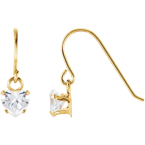 14K Yellow 4mm Heart Shape Dangle Youth Earrings