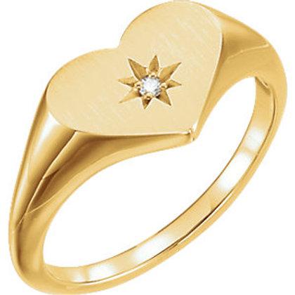 14K Yellow .01 CTW Diamond Heart Signet Ring