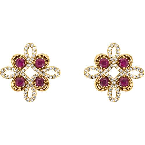 14K Yellow Ruby & 1/4 CTW Diamond Earrings