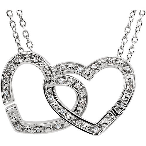 Sterling Silver 1/6 CTW Diamond 2-in-1 Interlocking Hearts Necklace