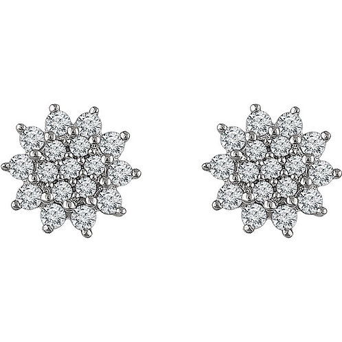 14 K White Gold 1/2 CTW Diamond Cluster Stud Earrings