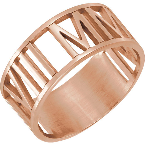 14K Rose Gold Pierced Roman Numeral Date Ring