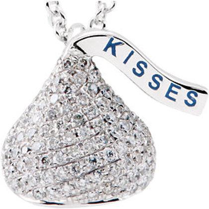 "14K White HERSHEY'S KISSES 3D 5/8 CTW Diamond 18"" Necklace"