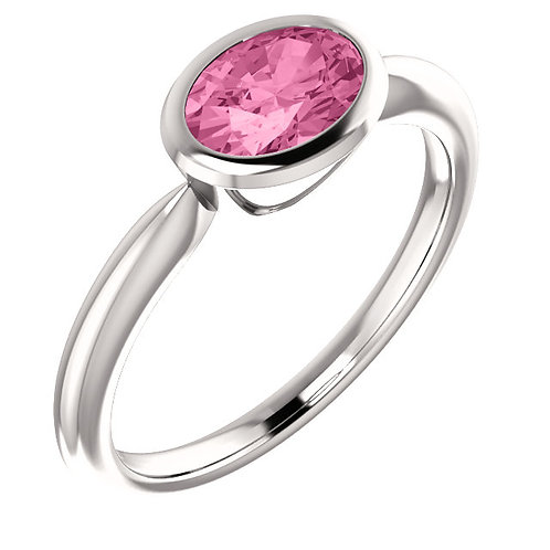 14K White Gold Created Pink Sapphire Bezel Set Ring