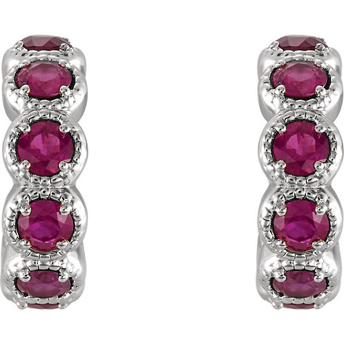 14K White 2.5mm Round Ruby Hoop Earrings